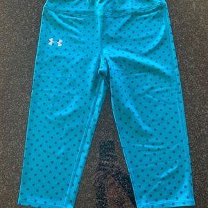 EUC under Armour turquoise polka dot crop leggings